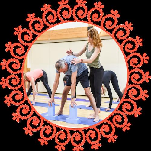 Toward Yoga Older Man Adjust Circle